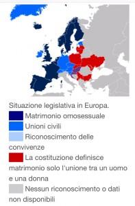 cartina europa diritti civili e unioni